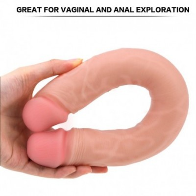 Double Dildo for Couples Vaginal Anal Play, PALOQUETH Realistic Double Ended Dildo Defined Heads Veined Shaft for Beginners A
